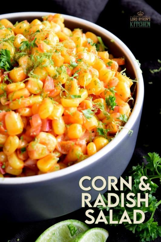 Light and refreshing, a simple combination of corn and radish, paired with a light oil and vinegar dressing and a burst of fresh lime juice, Corn and Radish Salad is a perfect summer side dish to any grilled main! #salad #summersalad #cornsalad #radish #lime