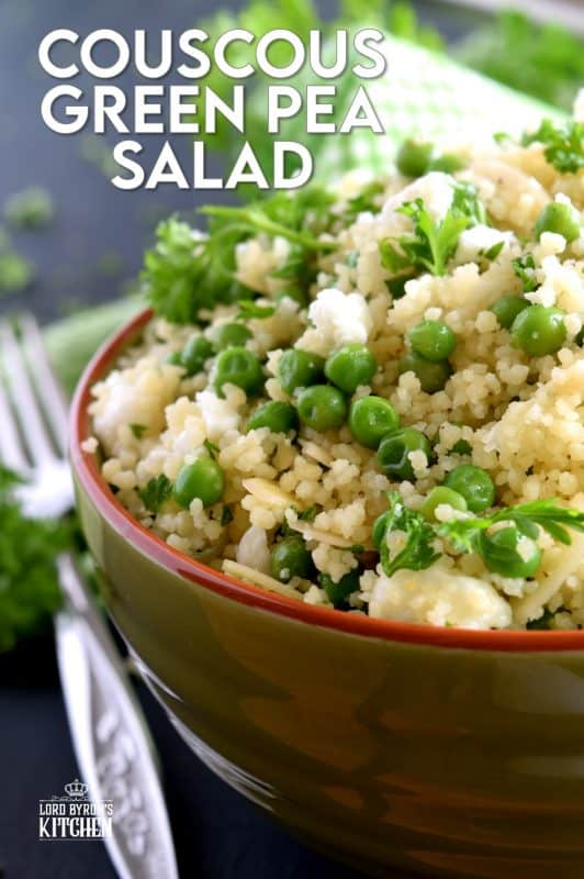 Delightful and flavourful, Couscous Green Pea Salad is prepared with almonds and feta, and gently tossed with a tangy and spicy vinaigrette. Serve this salad cold or at room temperature. It's fresh and delicious; a wholesome meal couldn't possibly get any better than this! #couscous #greenpea #salad #couscousrecipes