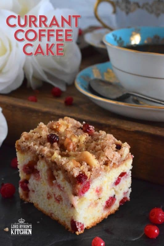 With two whole cups of red currants, and lemon zest, this Currant Coffee Cake tastes tangy, sweet, and very refreshing. With a sweet walnut crumb topping, this is one cake that should be served with a hot tea or coffee. #coffeecake #redcurrants #currants #berries #cake