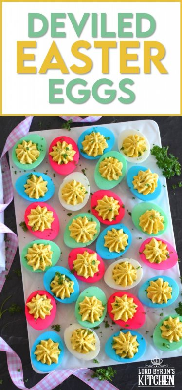 Easter isn't Easter without boiled eggs, so why not have some fun and make a batch of very Easter-y and very colourful Deviled Easter Eggs!? Don't hide these around the house and give the Easter Bunny all the credit! #deviledeggs #eastereggs #easter #deviled #boiledeggs #dyedeggs