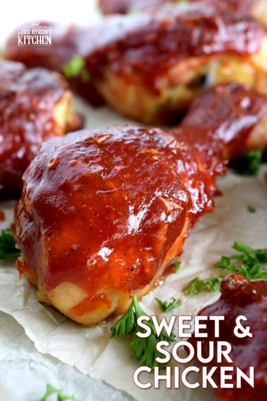 Sweet and Sour Chicken is not only easy and inexpensive, it's also super moist, tender, and delicious.  Basted with a thick, luscious sauce, this crowd-pleasing main will have them begging for you to make it over and over again! #sweet #sour #chicken #bakedchicken #familydinner #easymeals #sweetandsour