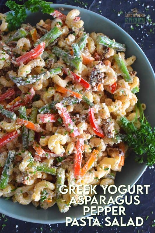 Served cold or at room temperature, Greek Yogurt Asparagus Pepper Pasta Salad is bound to be a new family favourite.  Creamy, zingy, and cheesy, this salad is one you will want to make over and over again! #pasta #pastasalad #asparagus #vegetablesalad #vegetarian #potluck #summersalad