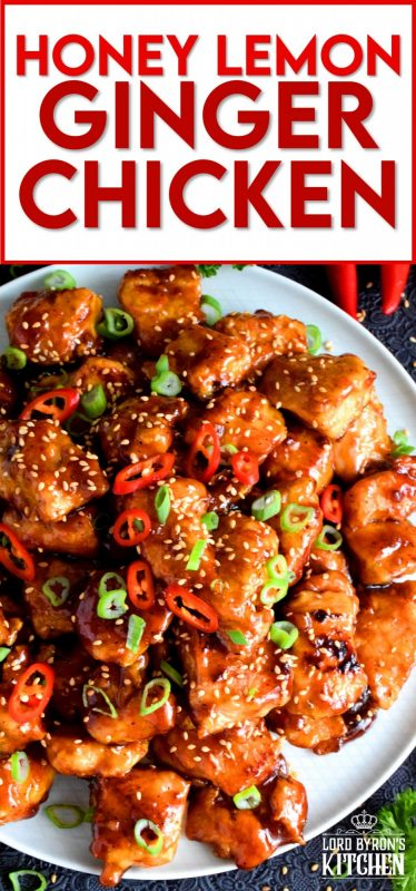 Tender pieces of chicken glazed in a thick, sweet, sour, and tangy sauce. Perfectly moist and juicy, Honey Lemon Ginger Glazed Chicken is a dish that's sure to get everyone to the dinner table. Asian-inspired dishes like this are not complicated and so much better than take out! #honeylemon #honeyginger #gingerchicken #asianfood #glazed #stickychicken #chicken