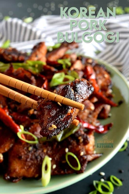 Korean Pork Bulgogi is thinly sliced, marinated pork, which has been pan-seared to perfection.  Tender, moist, spicy, and full of flavour.  Pork never tasted this good! Load up on both dried chili flakes and whole dried chilies if you can handle the heat! #Korean #recipes #pork #bulgogi #spicy