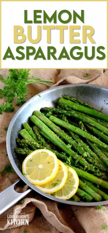 Lemon Butter Asparagus is as simple as it gets - gently sautéed asparagus in a little butter with lemon juice and lemon zest.  Bright and refreshing; a perfect spring and summer side! #asparagus #fresh #saute #skillet #lemon #butter #fried