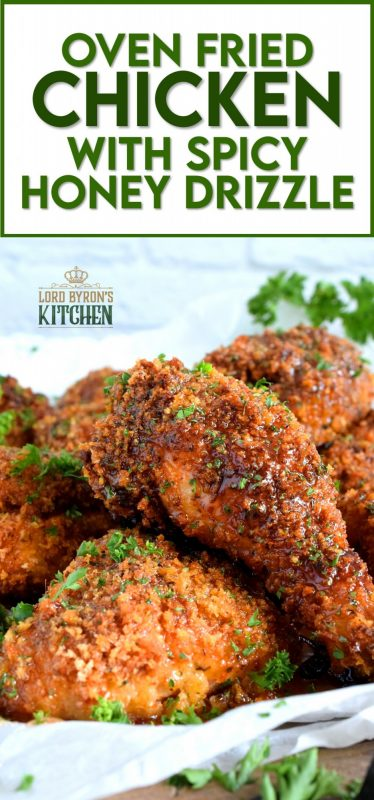 With a great tasting, super crispy, and super crunchy batter, Oven Fried Chicken is baked to perfection, while maintaining a moist and juicy inside. Enjoy it as is with your favourite fried chicken sides, or slather it up with the most delicious spicy honey drizzle. #oven #fried #chicken #honey #spicy #sauce #friedchicken #ovenfried