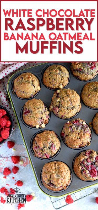 In our home, muffins are considered one of the major food groups, especially if that muffin happens to be these White Chocolate Raspberry Banana Oatmeal Muffins!  These disappear before they've had time to cool down! #raspberries #banana #muffins #oatmeal #chocolate