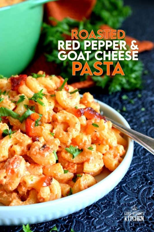 Creamy, smoky, cheesy, and home-style – that's the essence of Roasted Red Pepper and Goat Cheese Pasta.  A weeknight dinner option that never disappoints! Made with a splash of white wine, this rustic pasta can easily pass as a gourmet dinner option for your guests. #roastedredpeppers #goatcheese #whitewine #pastawithwine #cheesepasta #vegetarian