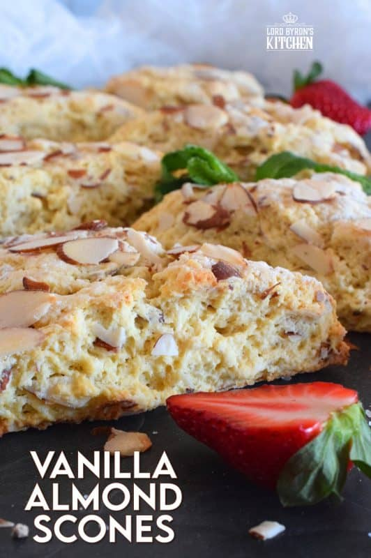 Slightly sweet, with a good splash of vanilla, and crunchy sliced almonds, Vanilla Almond Scones are an absolute delight. Scones quickly become everyone's favourite, so keep this recipe close. You'll make them over and over again. #vanilla #almonds #scones #brunch #basicrecipe #easyscones #baking