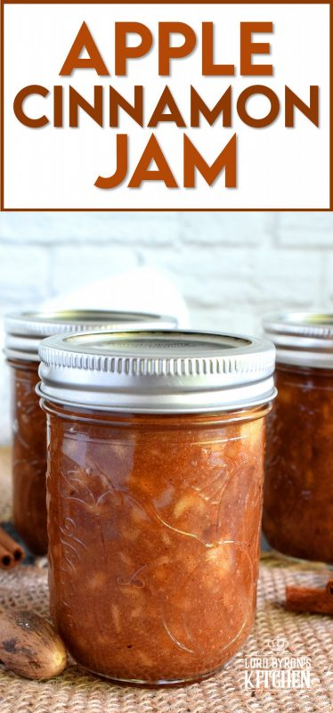 The taste of autumn captured and preserved in a simple to prepare jam. Apple Cinnamon Jam is a jam that tastes like a dessert. Great on ice cream, or folded into apple turnovers, or just smeared liberally on warm toast! #apple #jam #butter #cinnamon