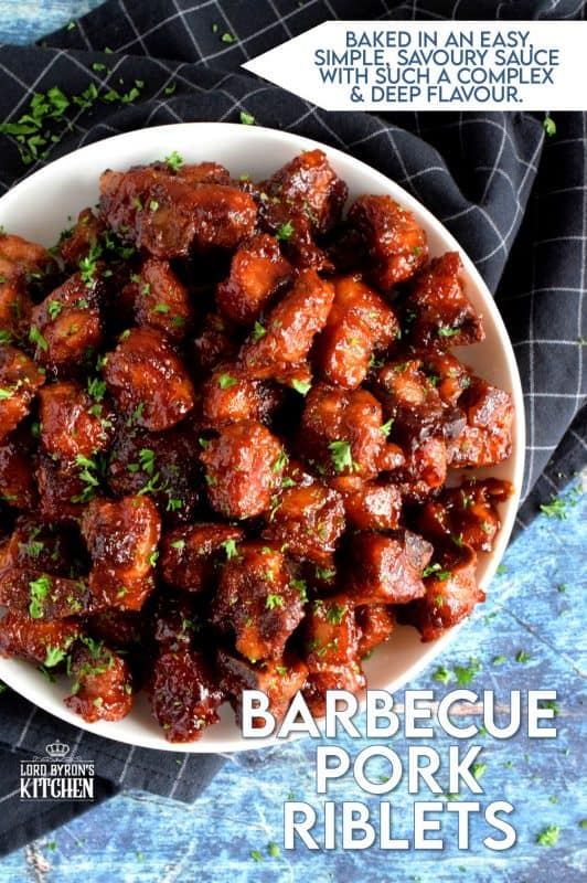 Perfectly baked, these fork-tender, fall-off-the-bone pork ribs, in a thick homemade barbecue sauce, couldn't get any easier! #pork #riblets #ribs #bbq #barbecue #oven #baked