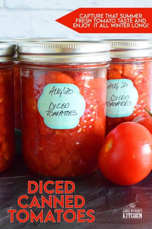 Many recipes include Canned Diced Tomatoes. Why not make your own with those local and fresh end of summer tomatoes? They're very budget friendly and taste so much better than what you can buy in a store. Stock your pantry and have that fresh tomato flavour all winter long! #canning #canned #preserved #tomatoes #diced
