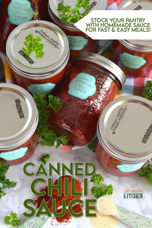 Always have a great tasting chili with deep flavour on hand with this Canned Chili Sauce recipe. Just add beans and simmer! But, that's not all; heat the sauce and ladle it over baked potato, or over fries topped with shredded cheese. So many possibilities when you have pantry stocked with this sauce! #canned #preserved #chili #sauce #tomatoes