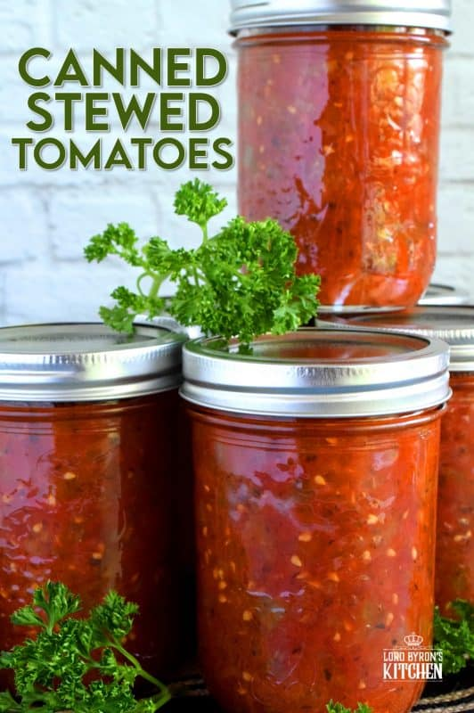 A great base to any pasta sauce, soup or stew; Canned Stewed Tomatoes is an inventive way to jazz up baked chicken or broiled seafood. Each jar is packed with tomatoes, onions, celery, and green bell pepper, making meal prep fast and easy! #canned #preserved #tomatoes #stewed