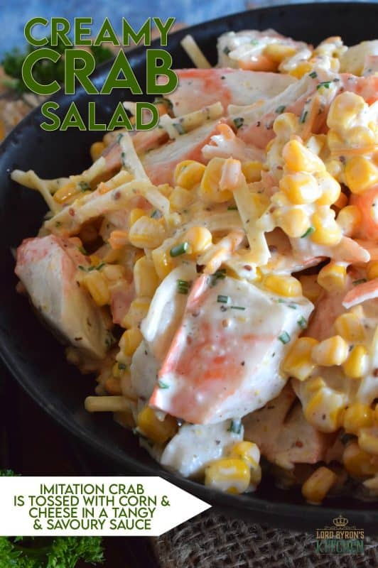 This is an imitation crab salad like no other. Loaded with flavour, and some unexpected ingredients, Creamy Crab Salad tastes like first class on a stand-by budget! It's creamy, it's cheesy, and the chives add such a bold and fresh oniony flavour. This ain't your average crab salad! #crabsalad #imitationcrab #crab #sidesalad #seafood #seafoodsalad