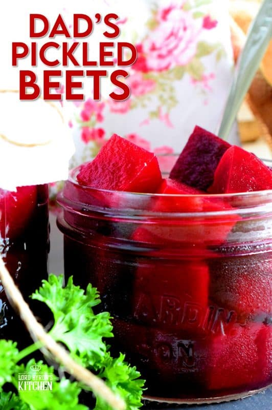 Preserving a fall harvest is an experience like no other, and every home chef should try canning at least once.  Dad's Canned Pickled Beets is the perfect place to start, because their very easy to can. No fancy equipment needed for this one! They're sweet, vinegary, and fork-tender; these beets will keep you smiling all winter long! #canning #pickled #pickling #beets #pickledbeets