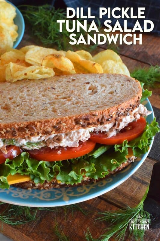 Who has time for boring sandwiches? You won't find that here, and this Dill Pickle Tuna Salad Sandwich is making sure of it! The tuna is prepared with dill pickles and fresh dill for maximum dill flavour. Finish it off with a slice of cheese, crisp lettuce, and sliced tomatoes all on great-tasting, multi-grain bread! #tuna #tunasalad #tunasandwich #dill #dillpickles #sandwiches