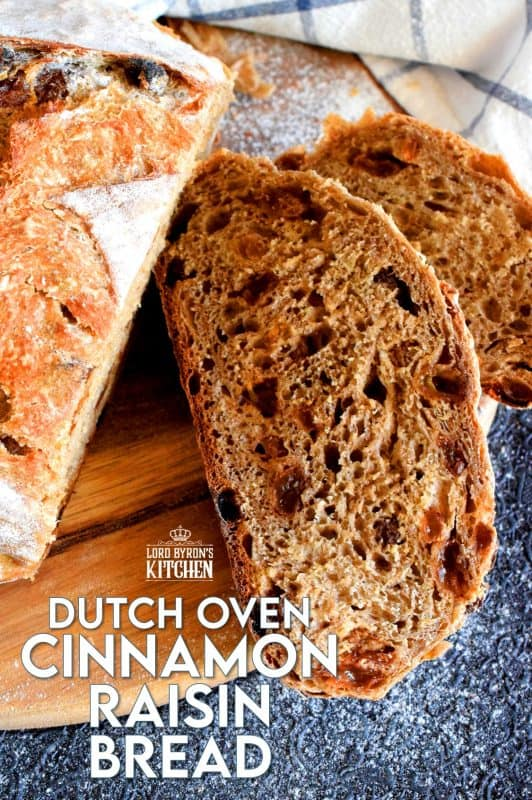 There's something really soothing and satisfying about freshly baked bread.  Even more so when you bake that bread yourself!  Dutch Oven Cinnamon Raisin Bread is the tastiest - and easiest! - bread you'll ever make. It's a good thing too, because you'll want to make this bread again and again! #dutchoven #cinnamon #raisin #cinnamonraisin #bread #homemadebread #dutchovenbread