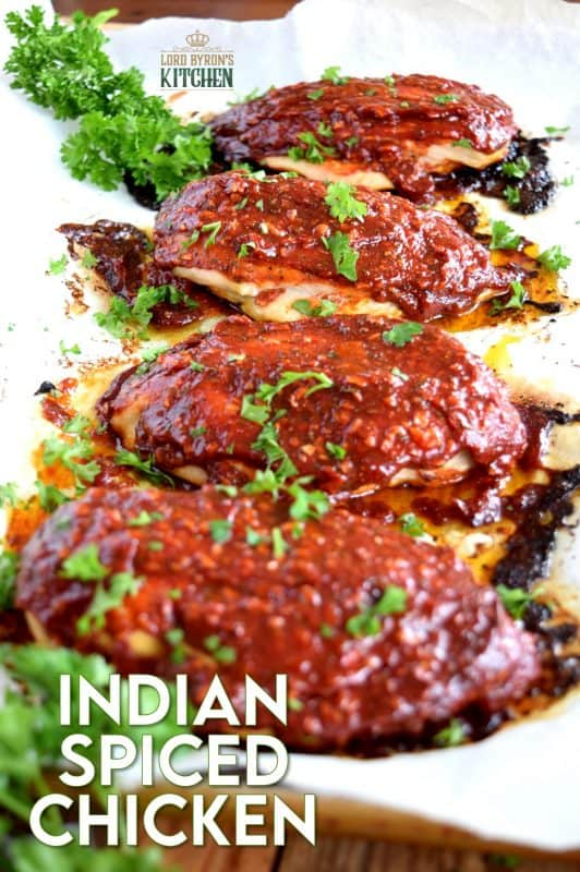 Slightly sweet with a little heat, this easy Indian Spiced Chicken is sure to please the pickiest member of your family.  With just a few basic ingredients, you can transform a plain chicken breast into a moist, succulent masterpiece in no time at all! #ketchup #indian #indianspiced #sauce #chickenbreast
