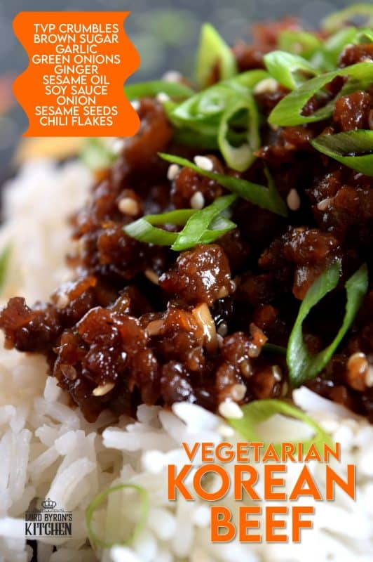 This is a vegetarian version of the popular Korean bulgogi. Vegetarian Korean Beef is a dish you didn't know you needed. It uses textured vegetable protein to achieve the same results as ground beef. 20 minutes start to finish! Even carnivores can't get enough of this! #korean #beef #bulgogi #vegetarian #TVP #crumbles
