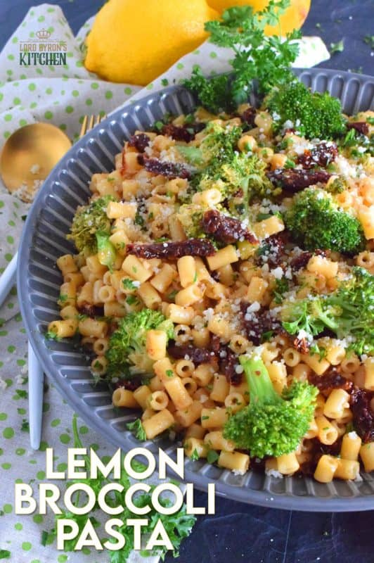 This pasta salad screams summer!  Lemon Broccoli Pasta is a bright, bold, and refreshing pasta dish with budget-friendly ingredients.  Dressed in an oil-based sauce with sun dried tomatoes, this salad is tossed with blanched broccoli and lots of freshly grated parmesan cheese. #lemon #broccoli #pasta #pastasalad #picnicpasta #sundriedtomatoes #oilbased #mayofree