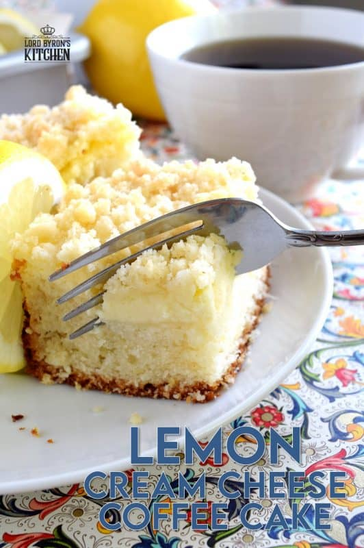Lemon Cream Cheese Coffee Cake is extra lemony, with a creamy filling and a crumbly topping. Light, refreshing, and delicious; brew the coffee and invite your friends! #lemon #coffee #cake #cream #cheese #dessert #summer