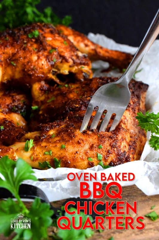 Easy oven-baked whole chicken quarters with a spicy barbecue seasoning is about to become your favourite way to prepare chicken. It's so easy too! All you do is whisk together olive oil and spices, baste chicken and bake until ready to eat! You might want to consider doubling the recipe!! #chicken #quarters #baked #oven #bbq #barbecue #rub #seasoning