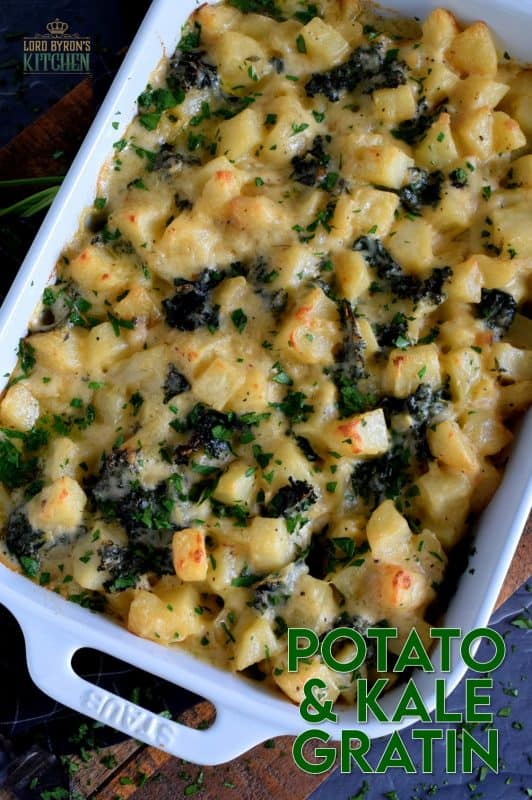 How does one make kale a comfort food? They combine it with potatoes in a béchamel sauce and bake it in the oven until it becomes golden and bubbly; Potato and Kale Gratin – a new comfort food option! #kale #gratin #casserole #potato #thanksgiving