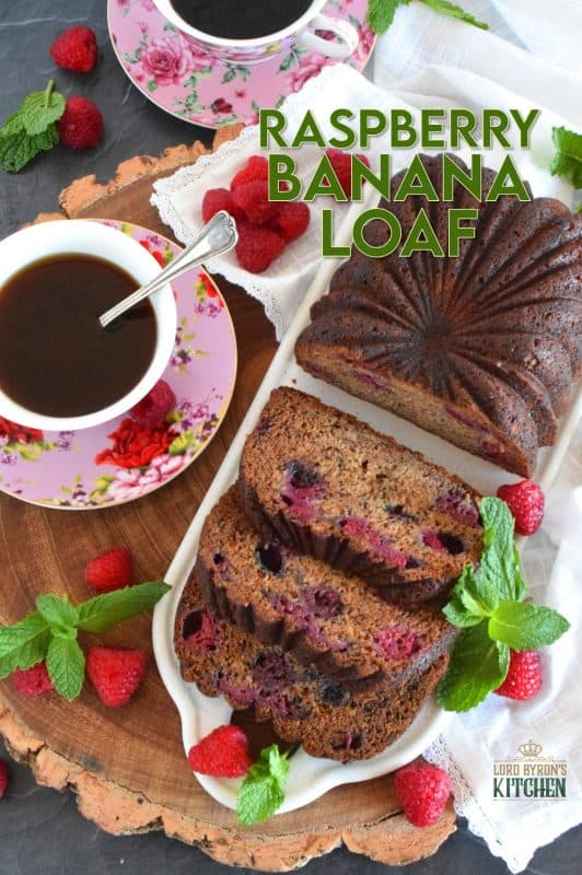 Loaded with fresh raspberries, this Raspberry Banana Loaf is the most moist and delicious loaf ever! Prepared with only a bowl and a spatula; no sifting or adding ingredients one at a time. Dump everything in a bowl, stir to combine, and bake.  A loaf like this needs no frosting or fussing; serve thick slices with a hot tea or coffee! #banana #loaf #bread #raspberry #baking #raspberryloaf #onebowl