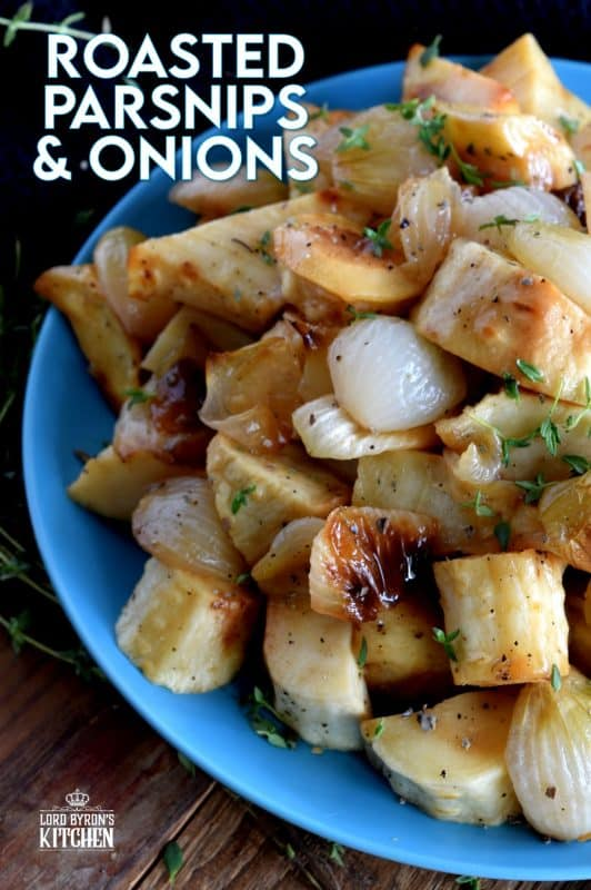 A delicious side dish for any occasion, Roasted Parsnips and Onions is loaded with simple, rustic flavours; and is very budget friendly. Seasonal root vegetables, like parsnips, are often overlooked, but roasting them unlocks so much delicious flavour! #thanksgiving #vegetarian #sides #sidedishes #parsnip #pearlonion