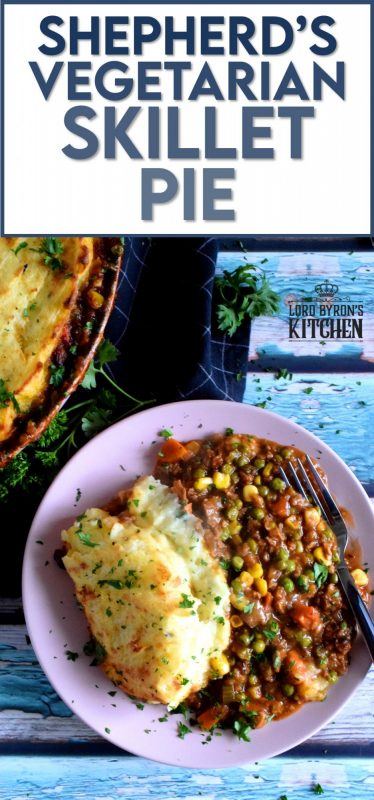 Look at these photos; doesn't that dish look hearty and meaty?  That's because it is, but without a trace of meat!  Shepherd's Vegetarian Skillet Pie is a perfect family dinner recipe for both vegetarians and meat lovers alike! No sides needed here; an entire meal can be found in this one recipe! #shepherdspie #vegetarianshepherdspie #vegetarianbeef #familyrecipes #meatlessmonday #vegetarian #meatless