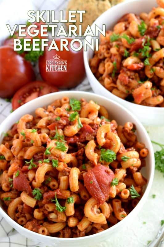 """Kids of all ages, even grown ups, will love this home-cooked version of the classic Chef Boyardee Beefaroni.  Perfectly cooked macaroni, smothered in a zesty sauce with chunky tomatoes and """"beef"""" is the ideal comfort nostalgic dish. Even the most diehard meat lover won't be able to resist! #copycat #copycatrecipes #chefboyardi #beefaroni #vegetarian #tvp #meatlessmonday #meatless #pasta"""