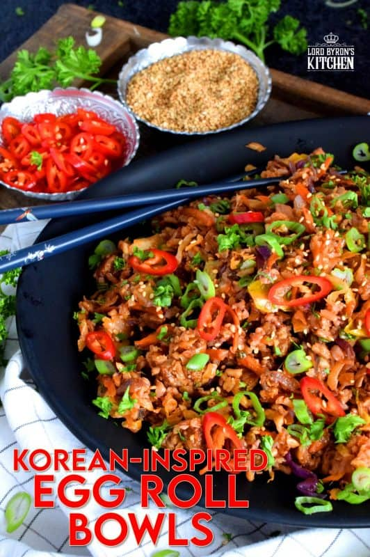 A one-pot meal complete with vegetables, grains, and protein! These Egg Roll Bowls are inspired by easy to find Korean ingredients, and is a great way to use up leftover rice. Substitute the ground pork with textured vegetable protein to make a vegetarian friendly version. #korean #koreanrecipes #gochujang #gochugaru #koreanspice #ricebowls #eggrollbowls
