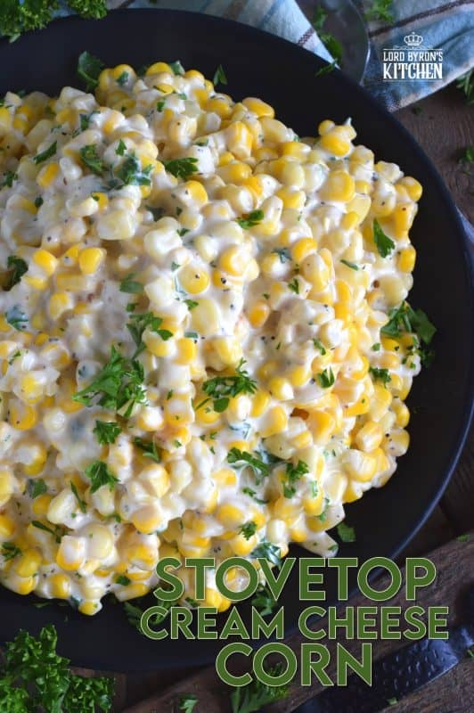 Easily transform frozen corn into the most delicious side dish in twenty minutes. Stovetop Cream Cheese Corn is side dish perfection! Watch the cream cheese and milk melt together with the corn to create a very tasty side dish in 20 minutes flat! #stovetop #cream #cheese #corn #side #dish