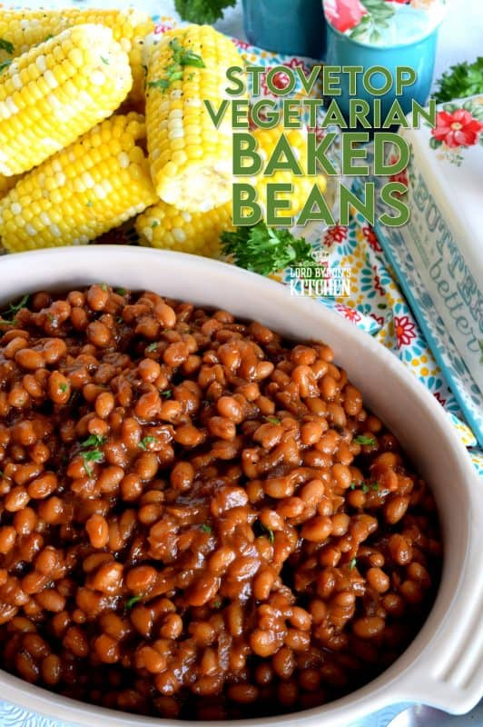Who says Baked Beans need to have bacon?  And who says they need to be baked?  Stovetop Vegetarian Baked Beans are fast, cheap, and easy - and nobody will notice the missing pork product! If you're grilling tonight, serve these beans and some corn as a side! #vegetarian #bakedbeans #stovetop #summersides #cannedbeans #molasses