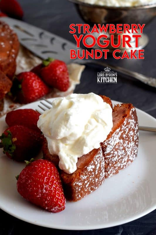 Who doesn't love cake?  A good bundt cake recipe is a must-have for any home cook, and this Strawberry Yogurt Bundt Cake doesn't get any easier or more delicious! Prepared with fresh strawberries and strawberry yogurt, this cake is for the serious strawberry lover! #strawberry #strawberrycake #yogurt #yogurtcake #bundt #bundtcake