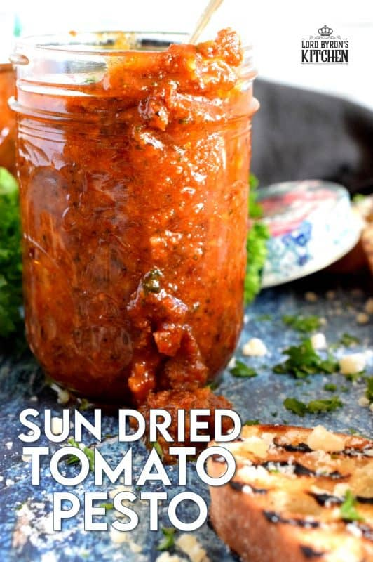 Homemade Sun Dried Tomato Pesto, otherwise known as Pesto Rosso, is so much better than store-bought.  A combination of good olive oil, fresh basil and real parmesan cheese will make the best results. Use it on pasta, fish, chicken, and as a sandwich spread too! Who could resist this delicious, vibrant sauce? #sun #dried #sundried #tomato #pesto #basil #fresh #homemade
