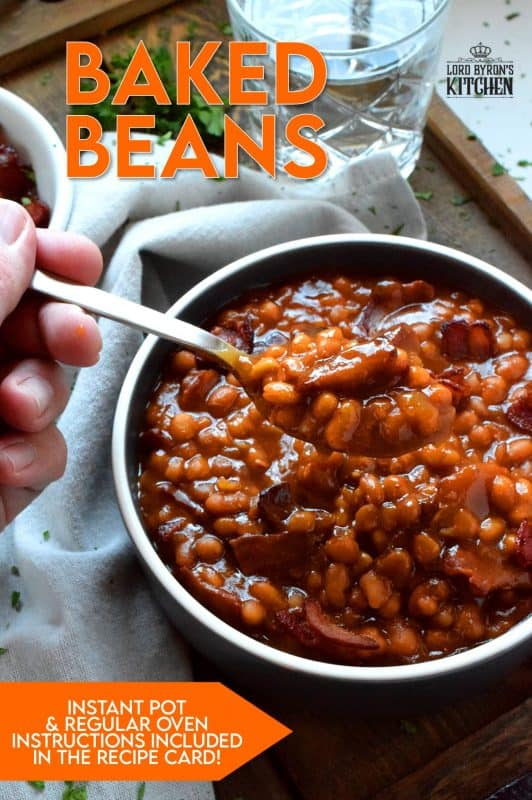 Instant Pot or traditional oven, Sweet and Smoky Baked Beans are delicious and so easy to prepare. Never buy canned beans from the grocer again! Make them vegetarian or serve them with fried crumbled bacon or ham on the side! #baked #beans #instant #pot #vegetarian #sweet #smoky