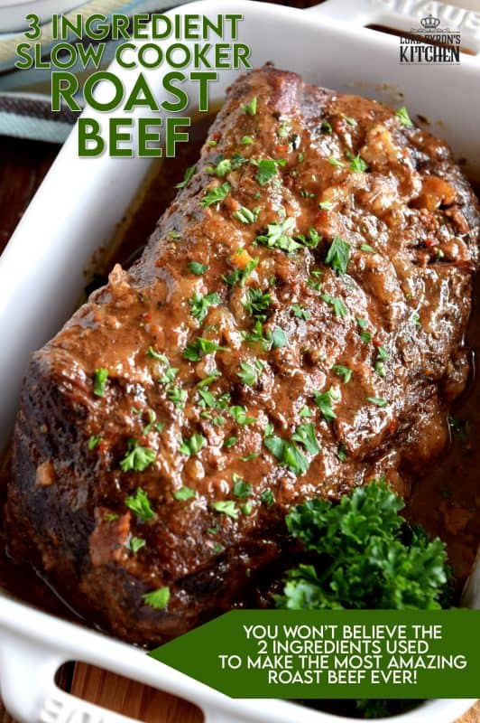 Slow cooker-based meals are meant to be easy and affordable. Three Ingredient Slow Cooker Pot Roast can't be beaten in terms of price and ease. So delicious and tender, and a great way to use cheaper cuts of beef. Would you believe this gorgeous main is prepared with only 3 ingredients? And, one of those is the beef! #slowcooker #potroast #beef #crockpot #pioneerwoman #roseshadow
