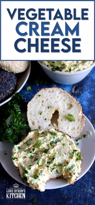 Bagels are a perfect brunch item, but they must be accompanied by copious amounts of cream cheese. A great way to perk up your shmear is with Vegetable Cream Cheese.  Bursting with fresh vegetable flavour, this recipe is great on anything. And, it takes only ten minutes to whip up a batch! #creamcheese #schmear #bagels #brunch #vegetablecreamcheese #flavouredcreamcheese
