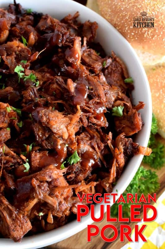 Pulled Pork can now be enjoyed by everyone! Vegetarian Pulled Pork is about as close to the real thing as you're ever going to get! Look at those fibers; doesn't it look like real meat? Unlike real pulled pork, this vegetarian version is much cheaper and takes only 40 minutes from start to finish! #vegetarian #pulledpork #pork #jackfruit