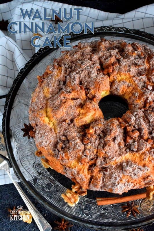 A delicious and moist cake with a walnut and cinnamon center and topping. No frosting or fancy cake decorating skills needed! Serve with vanilla ice cream for a great dessert, or enjoy a slice just as it is with a hot coffee as an afternoon treat. #walnuts #bundtcake #cinnamon #cinnamonwalnut