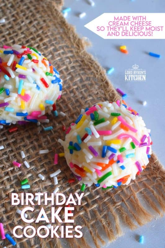 Birthday Cake Cookies are made with cream cheese, so you know they will be soft and moist! Loaded with candy sprinkles, and infused with a cake batter extract, these delicious cookies taste just like a birthday cake, only better! #birthday #birthdaycake #cookies #sprinkles #birthdaycakecookies