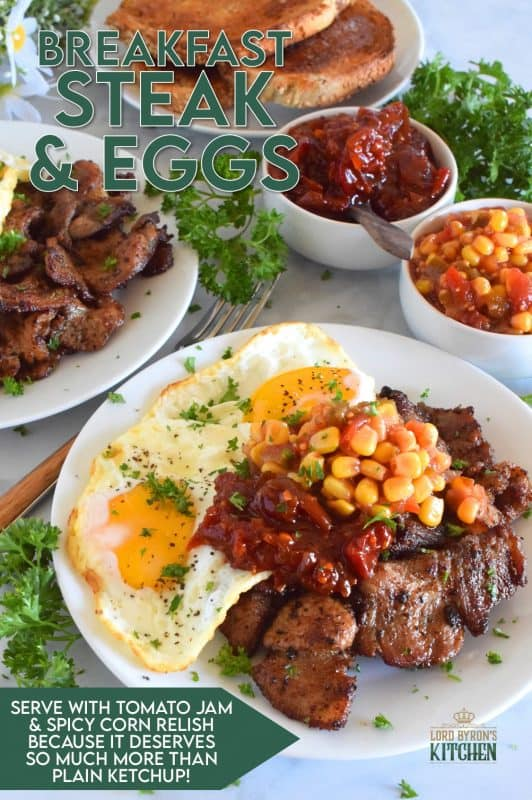 Breakfast Steak and Eggs is most certainly a hearty meal! Most morning routines don't make room for such luxuries, but a weekend breakfast or brunch is a perfect time to indulge in something as delicious as this! Go ahead and prepare the beef the night before. The longer it marinates, the more tender and juicy it will be! #breakfast #steak #steakandeggs #eggs #bigbreakfast #brunch
