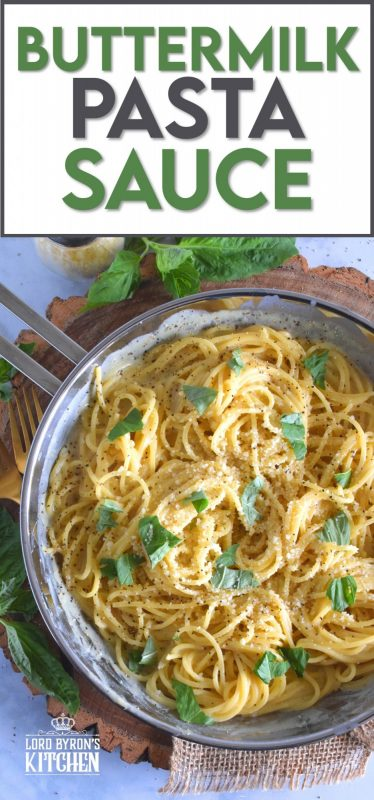 With only three ingredients, Buttermilk Pasta Sauce can easily compete with the most creamy and rich of sauces. All you need is a sauce pan, a whisk, and about ten minutes. This is a great way to use up leftover buttermilk! #buttermilk #sauce #pasta #pastasauce #vegetarian #meatless