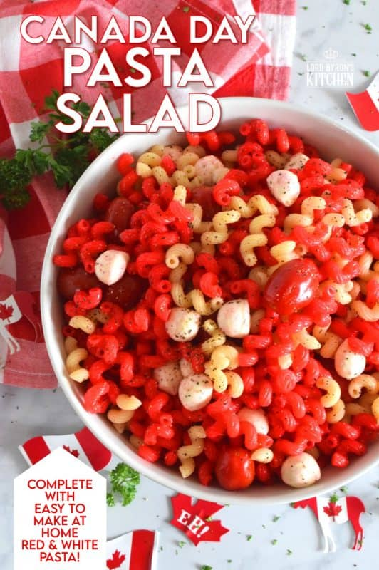 Make your Canada Day celebrations a little more festive with this easy to prepare Canada Day Pasta! It's easy to toss together and takes very little time. If you have kids, get them involved - they will love making red pasta! #canadaday #canada #redandwhite #canadadayfood #canadasbirthday