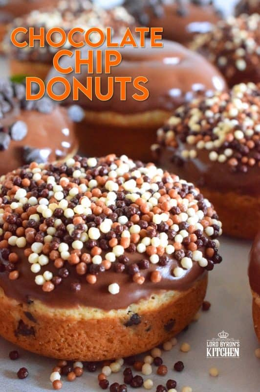 When it comes to donuts, chocolate is always a great choice.  Chocolate Chip Donuts are prepared with a vanilla batter, loaded with chocolate chips, topped with a chocolate glaze, and chocolate sprinkles.  Why?  Because nobody can every have too much chocolate! #donuts #chocolatechip #chocolate #bakednotfried #homemadedonuts