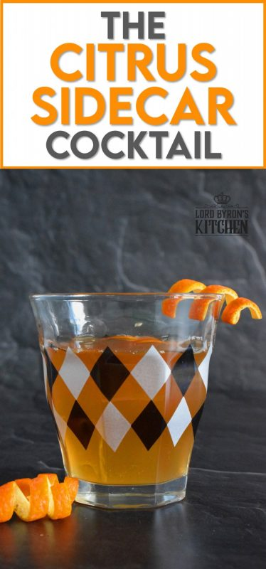 With the amount of citrus flavour in this Citrus Sidecar Cocktail, it's as refreshing as it is delicious. Prepared with brandy, triple sec, and lemon juice, this cocktail is shaken with ice until really cold and then poured into a chilled glass with an orange twist. #citrus #sidecar #cocktail #drinks #orange #lemon #brandy