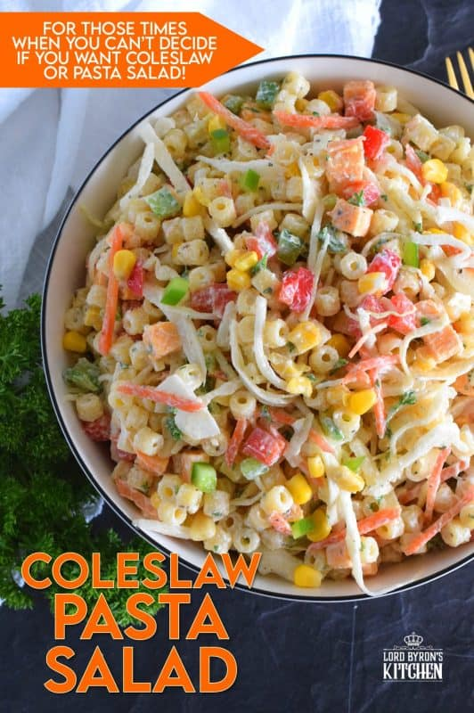 For those times when you're not sure if you want a coleslaw or a pasta salad, make them both - together! All of the tanginess and sweetness that you love in a crunchy coleslaw, coupled with the savoury, homestyle taste of a classic pasta salad! Why have just the one when you can have both? #coleslaw #pastasalad #macaronisalad #summerside #vegetarian #sidedish #meatless #macaronisalad #salad