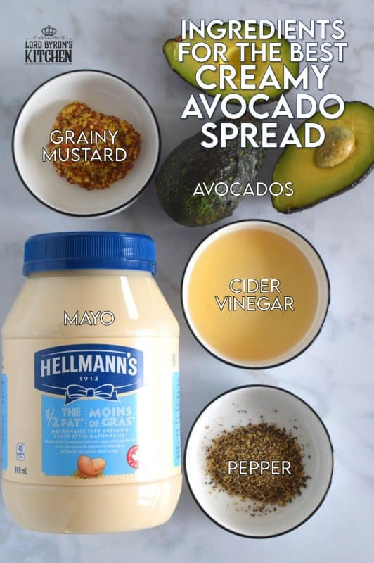 A combination of ripe avocado, creamy mayonnaise, sour vinegar, and tart mustard is what makes Creamy Avocado Spread so delicious! Whip it up, and keep it in your fridge for up to a week - if it lasts that long! #avocado #mayonnaise #spread #dip #sauce #creamy